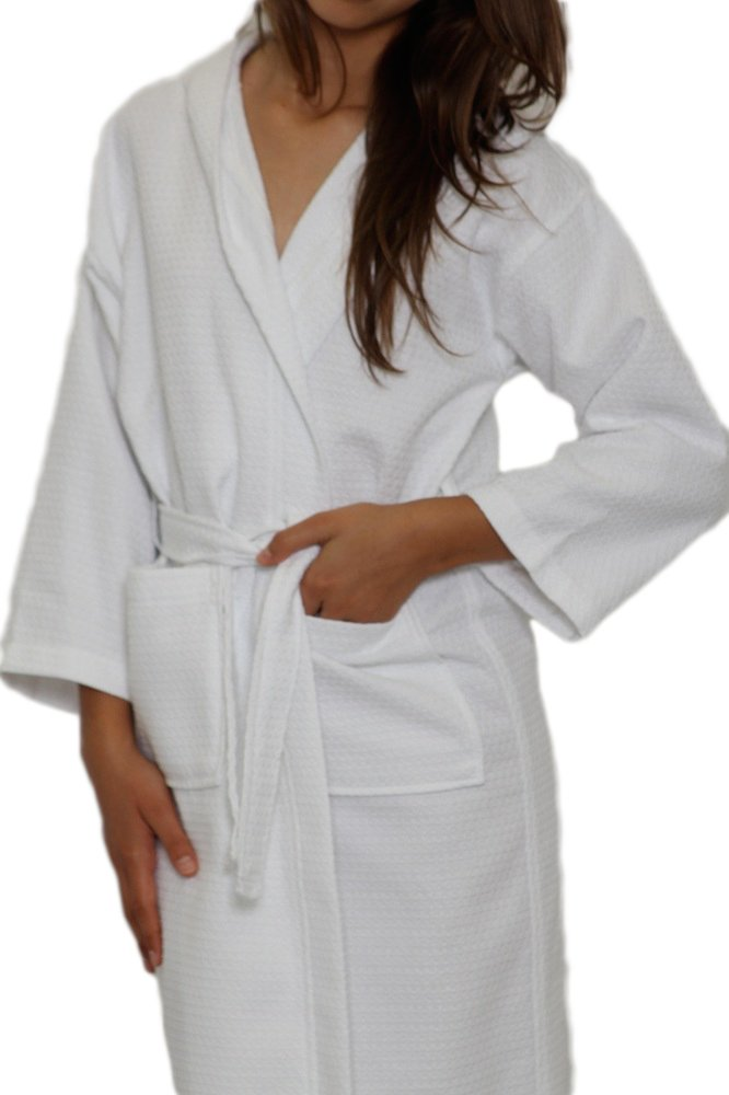 Daylee Naturals White Waffle Hooded Childrens Robe 100/% Cotton