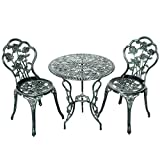 Cheap Giantex 3 Piece Bistro Set Cast Rose Design Antique Outdoor Patio Furniture Weather Resistant Garden Round Table and Chairs w/Umbrella Hole (Rose Design)