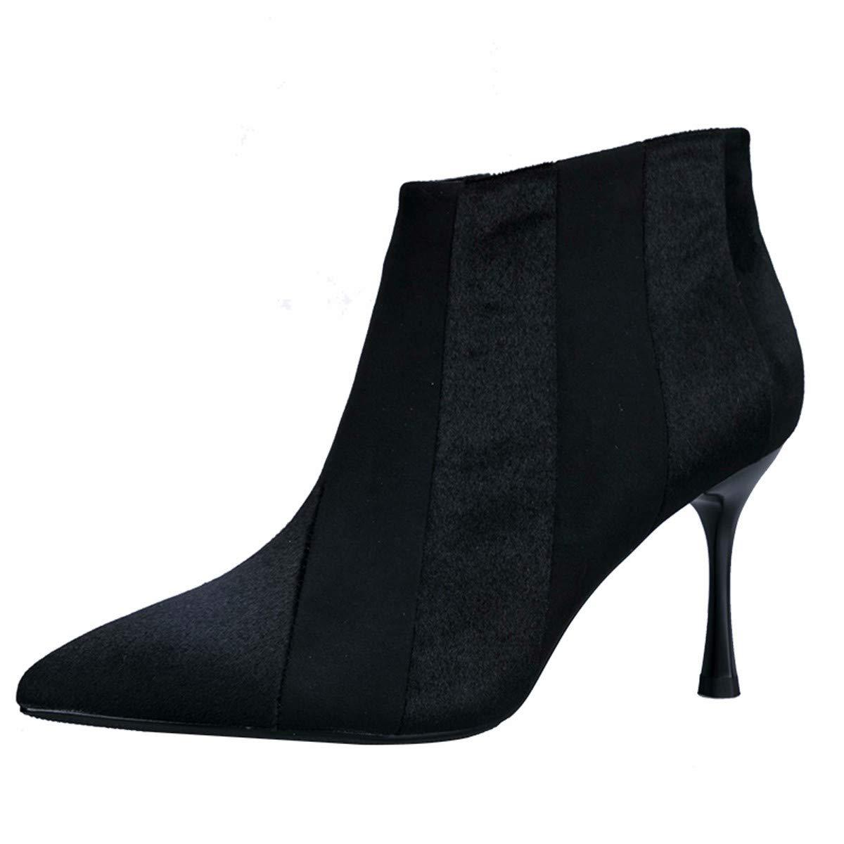 AJUNR Donna alla Moda Lo Splicing Stivali con Alto 8cm Bene rintracciando Sexy Nero 35 nero