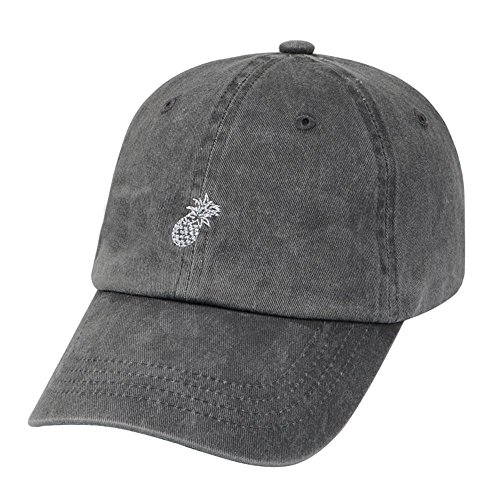Hatphile Mens Womens Dad Hat Large Gray Enzyme Washed Pineapple