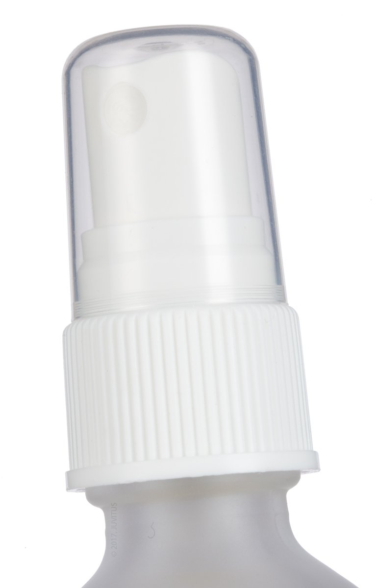 2 oz Frosted Clear Glass Boston Round White Fine Mist Spray Bottle (24 pack) + Funnel and Labels for essential oils, aromatherapy, food grade, bpa free by JUVITUS (Image #5)