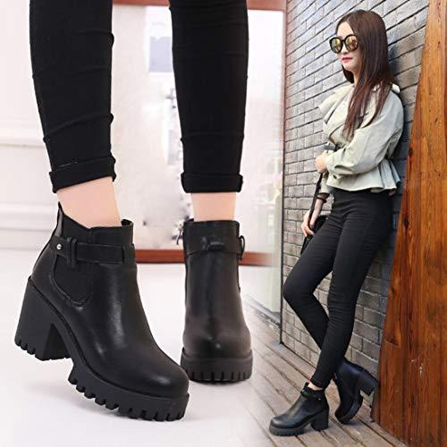 Pump Trim Platform (Gyoume Women High Heel Boots Platforms Boots Shoes Female Pump Boots Motorcycle Shoes)