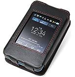PDAIR レザーケース for Wi-Fi STATION L-01G スリーブタイプ (ブラック/レッドステッチ) PALCL01GS/BL/RD