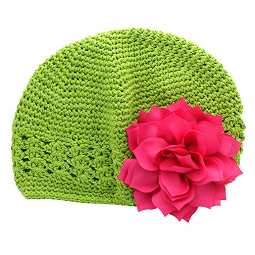Flower Beanie Knit (My Lello Little Girl's Crochet Beanie Hat with Flower One Size Apple Green/Hot Pink)