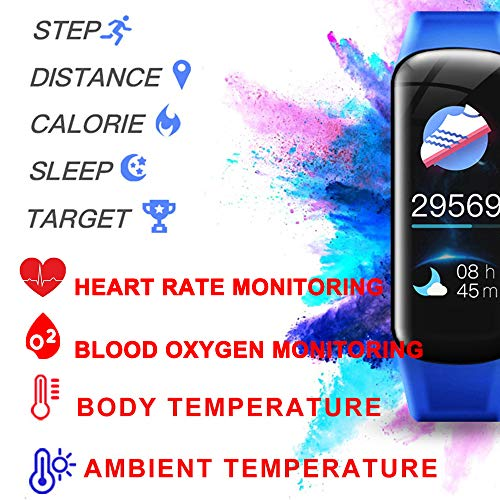 AUBEINSON Fitness Tracker with Oxygen Monitor,Activity Tracker Watch with Body Temperature Blood Pressure Heart Rate Monitor,Smart Watch with Steps Watch, Pedometer Watch for Kids Women Men