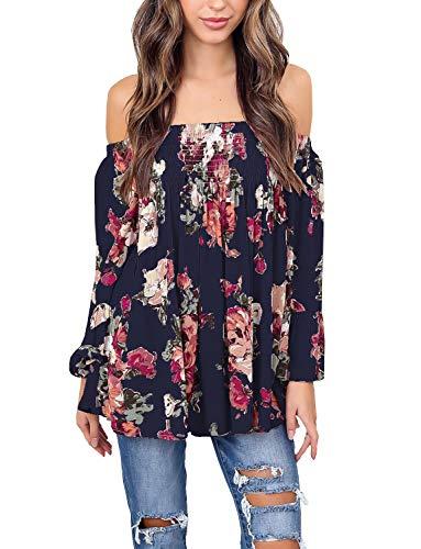 (Womens Floral Off Shoulder Blouse Casual Shirt Bell Sleeves Cute Crop Top (Deep Blue, 3XL))