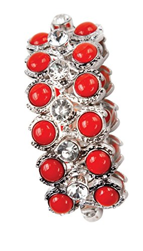 Isabella's Journey Women's Fashion Rhinestone Coral Red Bead Silver-Plate Stretch Bracelet, IJJWAB 7.5