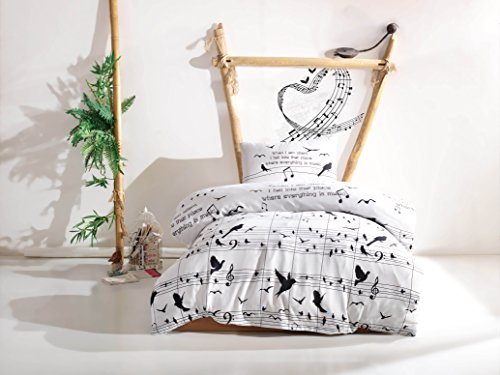 Music Bedding Set, Special Design Melody Note Birds Themed Single/Twin Size Duvet Cover Set, Black and White Bed Set (3 Pcs)