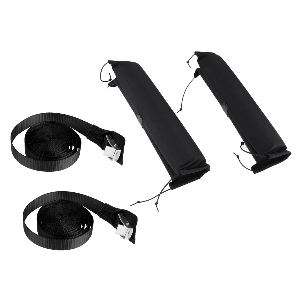 Prettyia 2 Pieces Padded Kayak Canoe Surfboard SUP Car Roof Bar Rack Pads, 2 Tie Down Strap