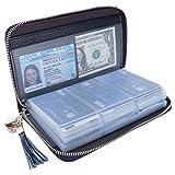 Talendi Genuine Leather Credit Card Holder Wallet Womens Small Cute Zipper Card Case Purse (60 Card Slots Black)