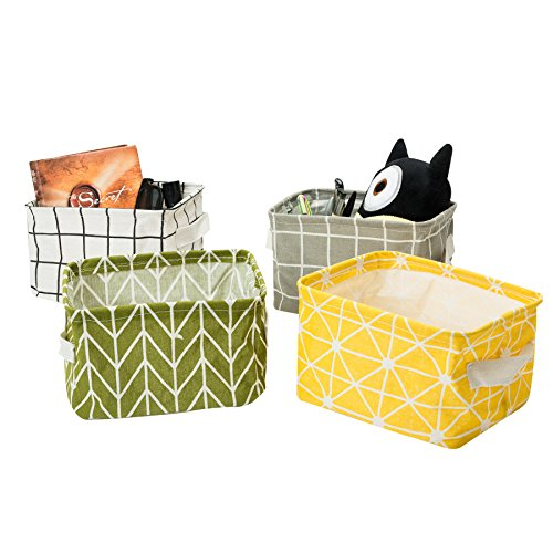 Zonyon Mini Storage Basket, Collapsible Fabric Storage Bin,Storage Cube,Basket, Cute Nursery Organizer for Kids,Baby, Desks,Shelves,Makeup,Keys,Canvas,4 Packs