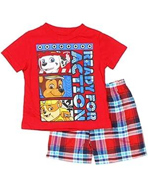 Nickelodeon Toddler Boys Paw Patrol 2-Piece T-Shirt & Plaid Shorts Set