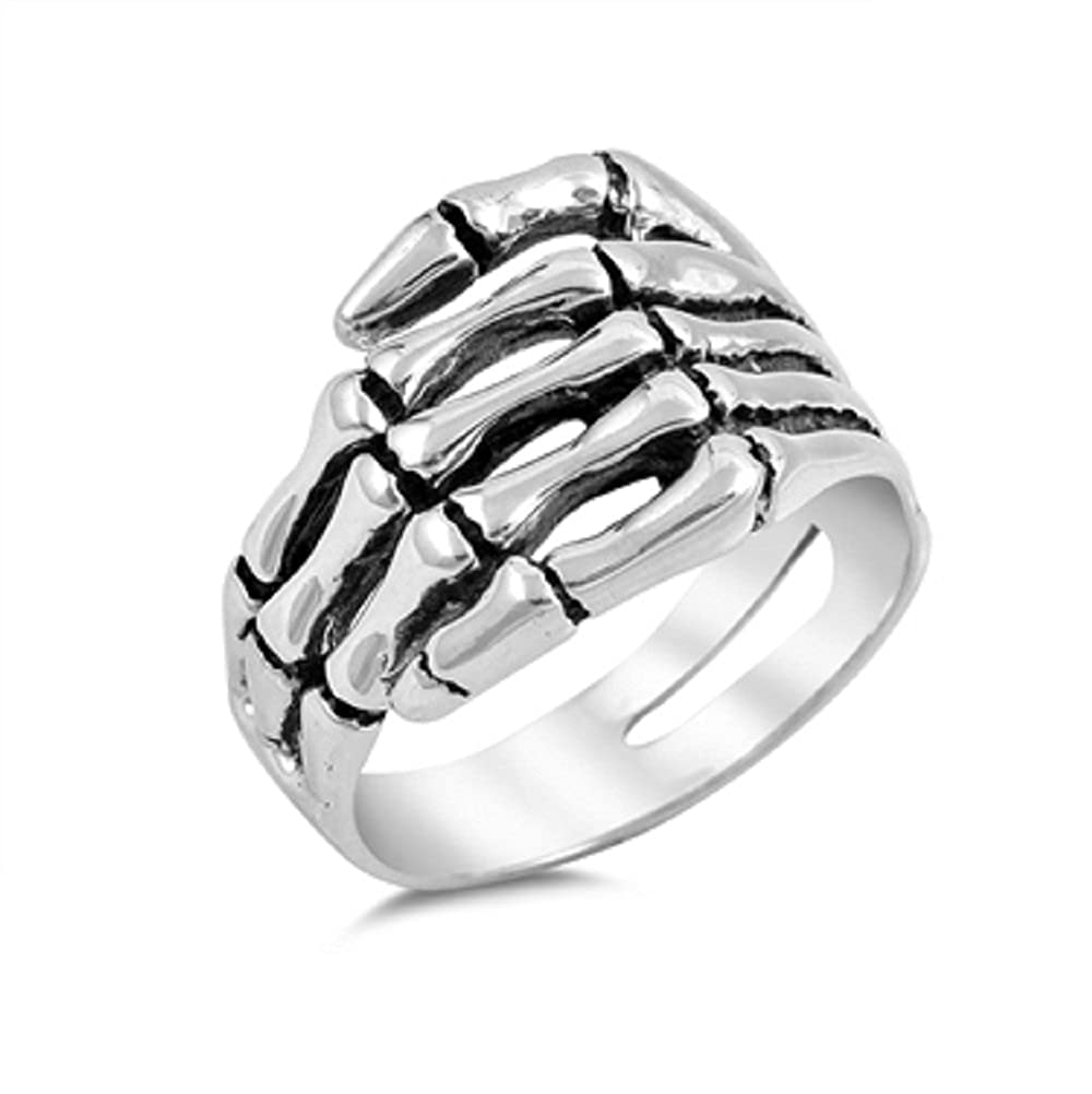 Princess Kylie 925 Sterling Silver Hand of A Skeleton Ring