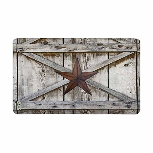 (InterestPrint Western Texas Star on Rustic Old Barn Wood Doormat Indoor Outdoor Entrance Rug Floor Mats Shoe Scraper Door Mat Non-Slip Home Decor, Rubber Backing Large 30