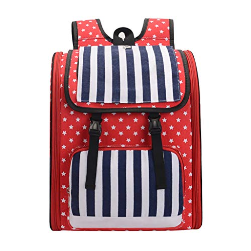 Sunyastor American Flag Backpack Pet Puppy Carrier Outdoor Comfort Travel Tote Breathable Backpack for Cats Dogs Puppy ()