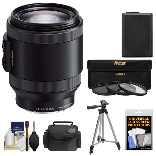 Price comparison product image Sony Alpha E-Mount 18-200mm f / 3.5-6.3 OSS PZ Lens with Battery + Case + 3 Filters + Tripod Kit for A5100,  A6000,  A6300 A6500 Camera