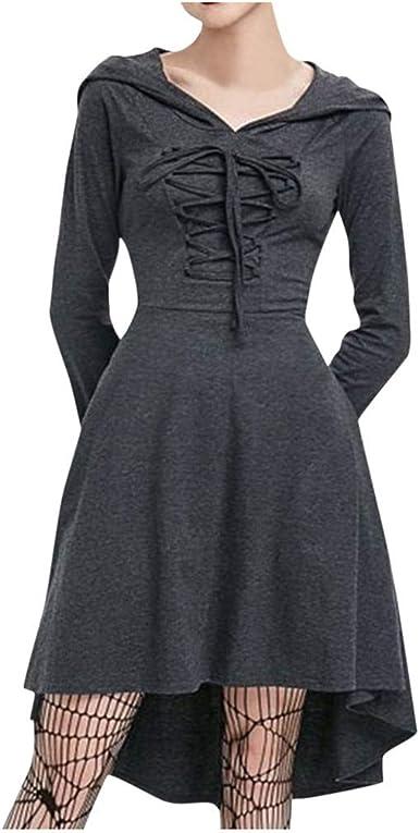CLOOM Vestidos Sudaderas Mujer Falda Gris Plisada Medieval ...