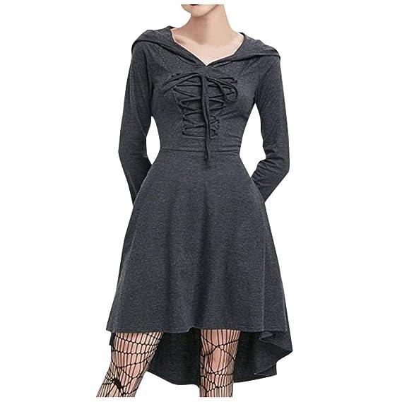 CLOOM Vestidos Sudaderas Mujer Falda Gris Plisada Medieval Gótico ...