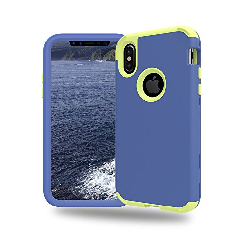 iPhone X Case, NOKEA Layered 3 in 1 Hard PC Case Silicone Shockproof Heavy Duty High Three Layer Impact Armor Hard Case for iPhone X (5.8 inches) (Navy (2 Piece Apple)