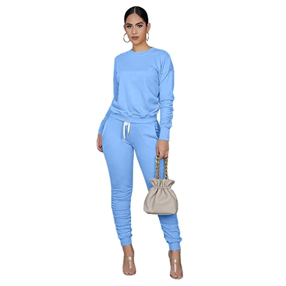 LINLIS Two Pieces Outfits for Womens Solid Sweatsuit Long Sleeve Tights Long Pants Sport Suits Tracksuits