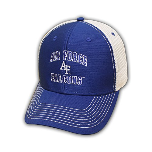 Ouray Sportswear NCAA Air Force Falcons Adjustable Sideline Trucker Cap, Adjustable Size, Royal/White