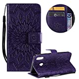 PU Leather Wallet Case for Samsung Galaxy M20,Flip Folio Case for Samsung Galaxy M20,Moiky Pretty Beautiful Purple Mandala Sun Flower Embossed Card Slots Shock Absorbing Protective Stand Case