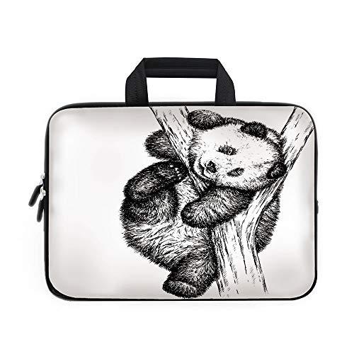 Animal Decor Laptop Carrying Bag Sleeve,Neoprene Sleeve Case/Cute Little Panda Bear on Tree Branch Fury Tropical Jungle Zoo Sketchy Print/for Apple Macbook Air Samsung Google Acer HP DELL Lenovo AsusB