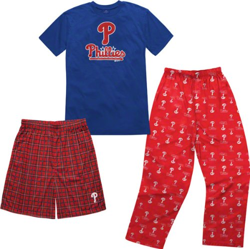 Philadelphia Phillies Pants - MLB Philadelphia Phillies T-shirt Boxer & Pant 3 Piece Sleep Set (X-Large (18-20))