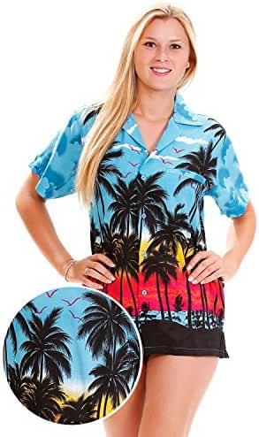 Funky Hawaiian Blouse Women Short-Sleeve Front-Pocket Beach Palm Multi Colors