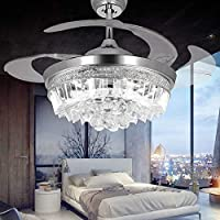 RS Lighting 42-Inch Modern Crystals Ceiling Fans with Remote Control and Light 4 Retractable Blades Chrome Fan Chandelier for Outdoor Indoor Living Bedroom Dining Room Lights(Chrome)