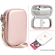 Protective Case for HP Sprocket Portable Photo Printer, Polaroid ZIP Mobile Printer, Lifeprint Photo AND Video Printer, Mesh Pocket for Photo Paper and Cable, Compact size Fashion Design (Rose Gold)