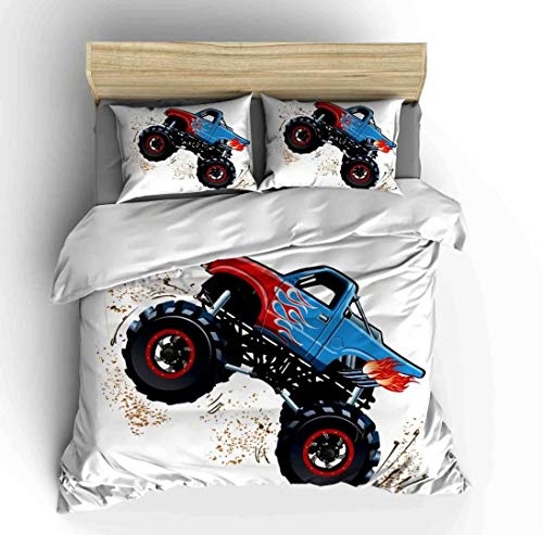 (Cars Bedding Sets Twin Size,3 Piece Duvet Cover Sets Cartoon Hand Drawn Watercolor Off Road Monster Trucks Enormous Wheels with 2 Pillowcases for Teens Boys Girls Bedroom,No Comforter)