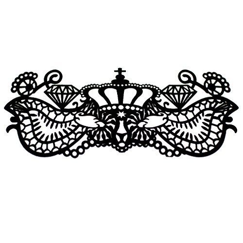 [EMILYSTORES Self-Adhesive Crown Diamond Tattoo Black Lace Paper Lashes Upper and Lower Costume Party Halloween Black Venetian Pretty Masquerade Mask] (Masquerade Mask Tattoo)
