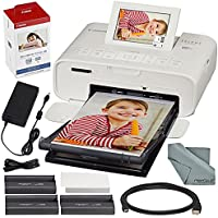 Canon SELPHY CP1300 Compact Photo Printer (White) with WiFi and Accessory Bundle w/ Canon Color Ink and Paper Set