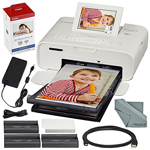 (Canon SELPHY CP1300 Compact Photo Printer (White) with WiFi and Accessory Bundle w/Canon Color Ink and Paper Set )