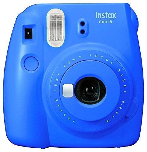 Fuji Camera Cobalt Blue + Carry AA Batteries & Charger + Instax Mini