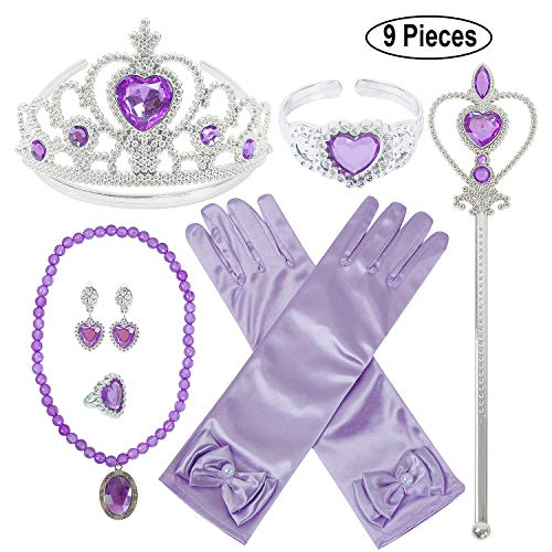 Princess Dress Up Party Accessories for Princess Costume Gloves Tiara Wand Necklace Earrings Bracelet and Ring (Purple Gift Set of 7, 9pcs)