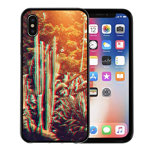 (Emvency Phone Case for Apple iPhone Xs Case/iPhone X Case,Blue Cactus Cacti Sunlight The Effect of Glitch Brown Soft Rubber Border Decorative, Black )