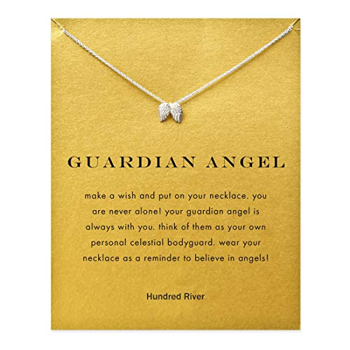Hundred River Friendship Clover Necklace Unicorn Good Luck Elephant Necklace with Message Card Gift Card for Women Girl (Angle Wing) ()