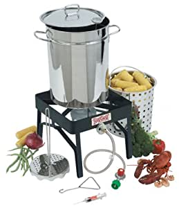 Bayou Classic 9195 32-Quart Stainless-Steel Outdoor Turkey Fryer Kit with Burner