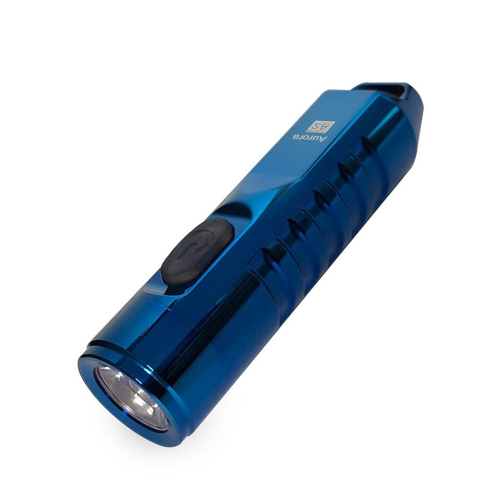 A2 Torch,550 Lumen CREE XP-G3 S5 LED Schlüsselbund Wiederaufladbar EDC Taschenlampe,45 Minuten Schnell Aufladen,IP65 Wasserfest Edelstahl Klein Fackel(Silber) RovyVon