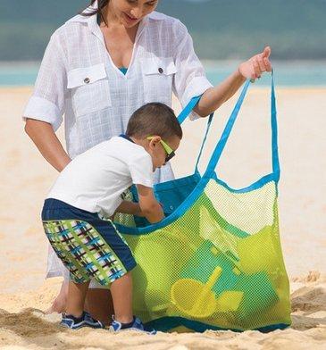 ビーチバッグ、Beespring Large耐久性ビーチバッグトートバッグXLサイズメッシュバッグビーチファミリの子の再生、ビーチにぴったり、Swim or boating Holding Childrens ' Toys (ブルー/グリーンメッシュ/ Ramdomカラー グリーン B073TGXRLH グリーン