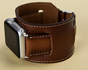 Apple Watch Cuff Brown Leather Band for Series 6-1 44mm, 42mm, 40mm, 38mm, Brown iWatch Band, Man or Women, Genuine Leather Strap, High Quality, Engraving Avaliable, HANDMADE, EXPRESS SHIPPING