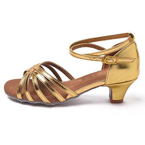 Dance Shoes Girls Shoes children 9 Salsa Tango Women LEIT Latin Gold1 Ballroom YFF Professional Heeled wXEHXPqU