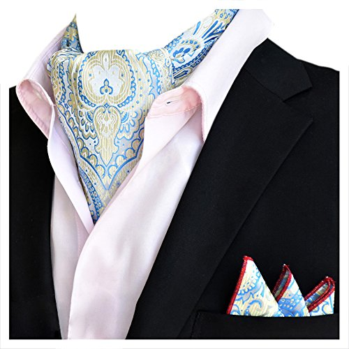 Tie Set Blue Ascot Business Floral Xlj Silk Elegant Handkerchief 05 YCHENG Wedding Men's Paisley qazIv6xO