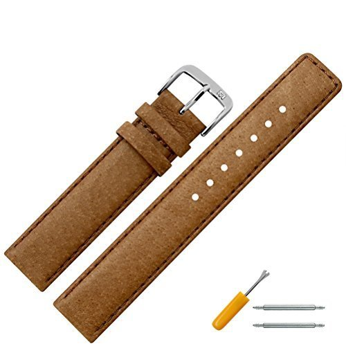 Uhrenarmband 14mm Leder braun Naht - Ersatzarmband aus echtem Schweinsleder für Uhren - Lederarmband mit Naht - Lederband für Armbanduhren - Marburger Uhrenarmbänder seit 1945 - hellbraun / silber