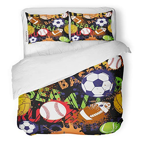 Emvency Decor Duvet Cover Set Full/Queen Size Boy Sport Pattern with Balls Repeated for Child Creative Grunge Design Black Game 3 Piece Brushed Microfiber Fabric Print Bedding Set Cover
