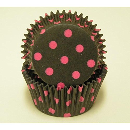 50pc Hot Dot Design Black With Hot Pink Dots Standard Size Cupcake Baking Cups Liners Wrappers]()