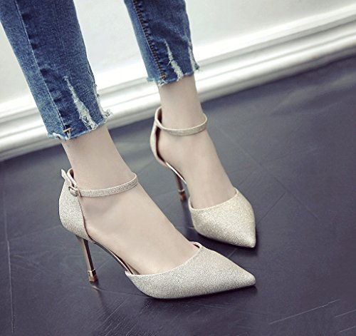 Pointed High Mouth Shoes Shallow Size Toe Sandals Summer Comfortable Color Sexy Female 34 Gold Heels Heel Kitten gWYqE0
