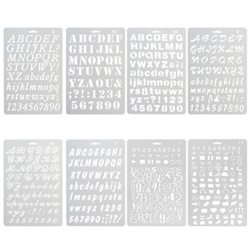 NABLUE Pack of 8 Plastic Alphabet Letter Number Drawing Painting Stencils Scale Template Sets For Bullet Journal Stencil Planner/Scrapbook/DIY Painting Craft Projects]()